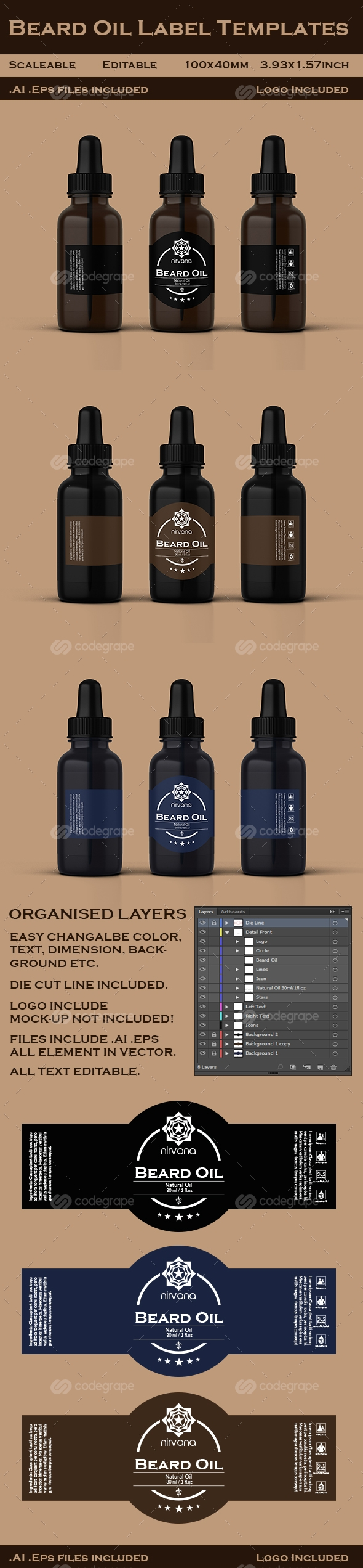Beard Oil Label Templates Print | CodeGrape