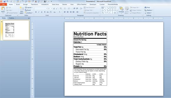 Nutrition Labels for products; blank laser & inkjet sheets or