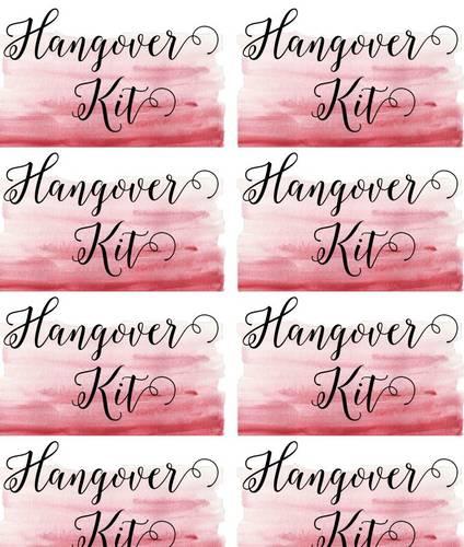 Hangover Kit Label Template