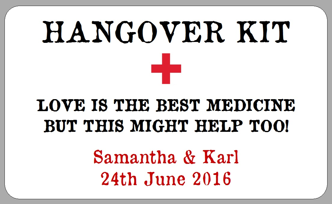 Hangover Kit Label Template free