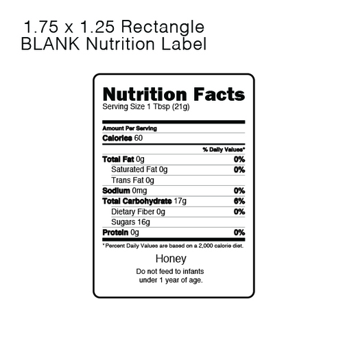 Nutrition Labels for Honey