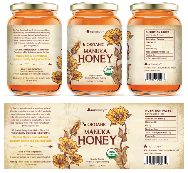 Organic Manuka Honey Labels Template