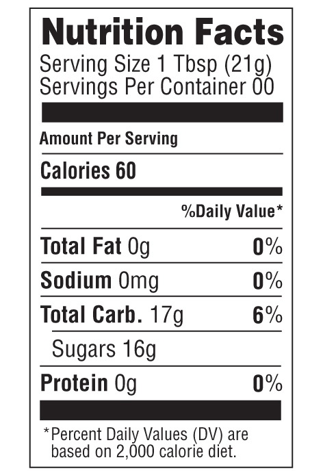 Honey Nutrition Label Template