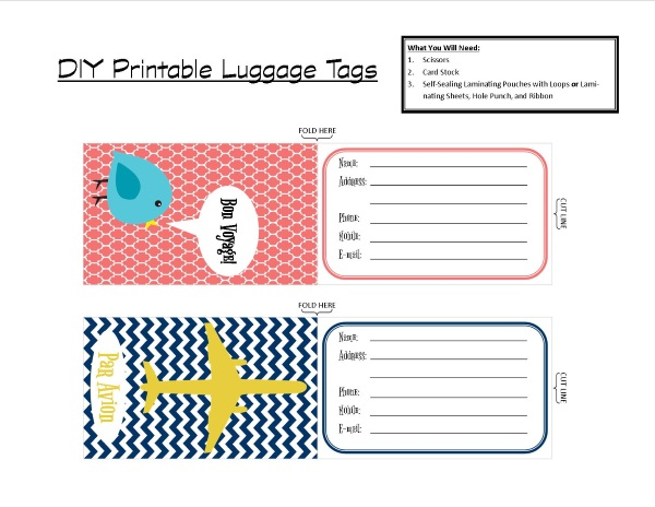 Luggage Label Template Printable