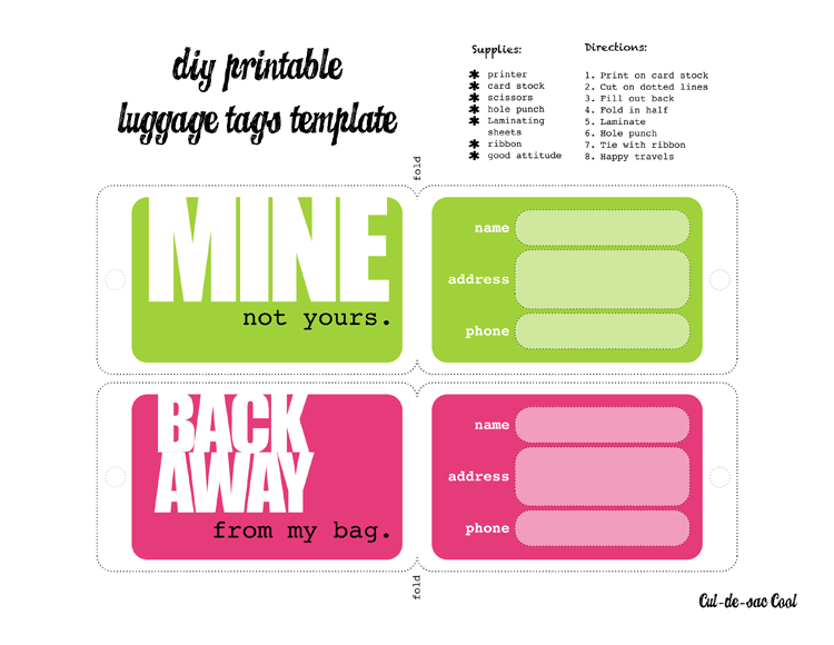 Luggage Label Template