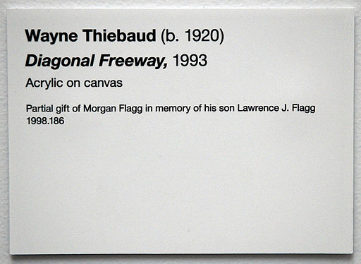 Wayne Thiebaud Rivers and Farms De Young Museum label | Museums