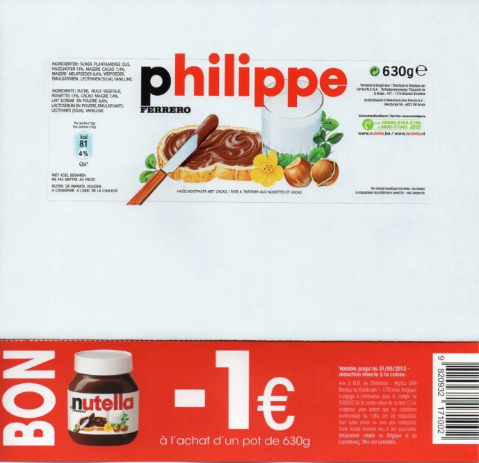 Nutella Label Template with love
