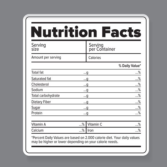 Nutrition facts vector label ~ Objects ~ Creative Market