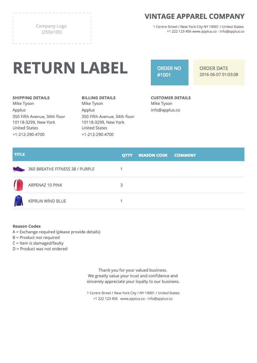 Return Label Template